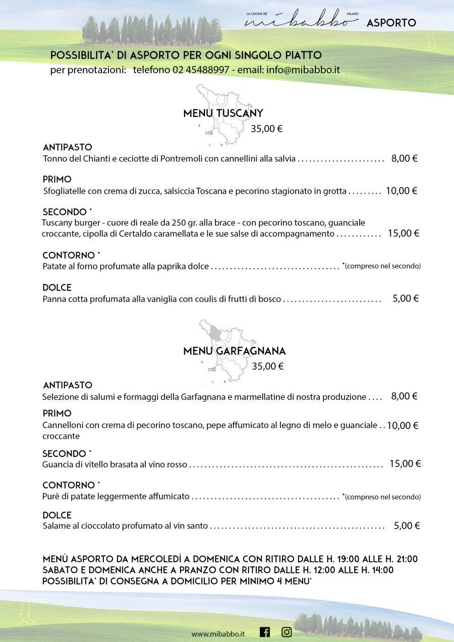 Menù Asporto: Tuscany & Garfagnana